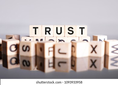 Trust word cube on reflection