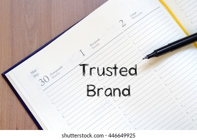 Trusted brand text concept write on notebook