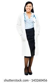 Trusted mixed race Nurse isolated on white background