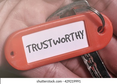 TRUSTWORTHY word written on key chain