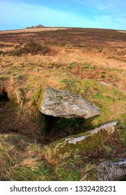 Truthwall Common Chambered Carn/Entrance Grave, with Carn Kenidjack in the background, West Cornwall UK