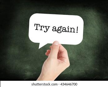 Try again written on a speechbubble