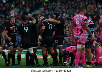 TRY Albertus Buckle of Lyon and Patrick Sobela of Lyon during the French championship Top 14 rugby union match between Lyon OU and Stade Francais Paris on November 4, 2018 at Gerland stadium in Lyon