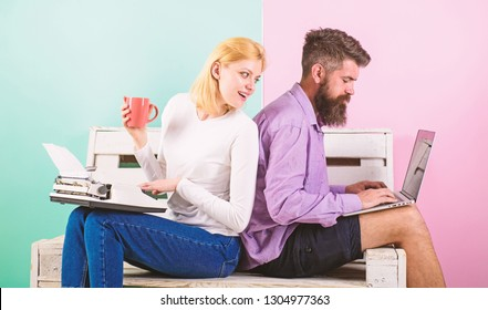 Try new technology. Can not get used new technologies. Time change old habits. Old fashioned against modern, outdated against new. Man work use modern stylish laptop and woman work retro typewriter.