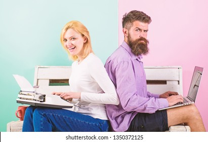 Try new technology. Time change old habits. Old fashioned against modern, outdated against new. Man work use modern stylish laptop and woman work retro typewriter. Can not get used new technologies.