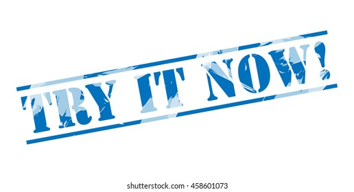try it now! blue stamp on white background