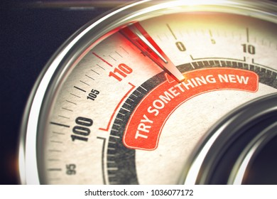 Try Something New Rate Conceptual Meter with Text on Red Label. Business or Marketing Concept. 3D Illustration.