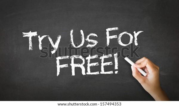 Try Us For Free Chalk Illustration