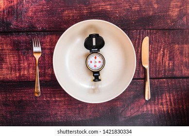 Trying diets to lose weight oriented by a compass, image of a plate without food in a fasting.