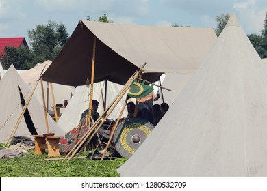 Trzcinica, podkarpacie, Poland - 08.18.2018: Camp of Slavs before the battle.