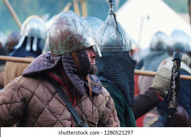 Trzcinica, podkarpacie, Poland - 08.18.2018: Reconstruction. Slavs before the battle.