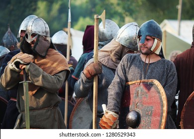 Trzcinica, podkarpacie, Poland - 08.18.2018: Slavs warriors before the fight.