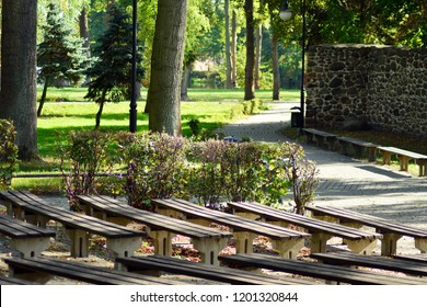 Trzcinsko-Zdroj, Poland.8 October 2018. Amphitheater in the open air in a park in town Trzcinsko-Zdroj in western Poland - former Bad Schonfliess