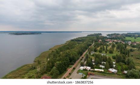 Trzebiez, Poland. Aerial view on coast of Zalew Szczecinski and forest. Drone photo