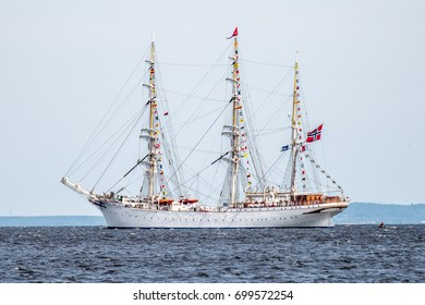 Trzebiez, Poland - August 08, 2017 - Sailing ship Statsraad Lehmkuhl sails to the full sea after final of Tall Ships Races 2017 in Stettin on 05-08 August, Poland