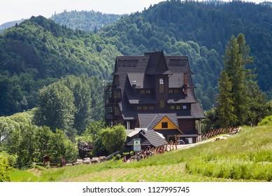 Trzy Korony, Sromowce / Poland - May 27, 2018: Mountain shelter, Three Crowns on the Donay River. Mountains Three Crowns (Trzy Korony) is Polish Pieniny. National park in Pieniny.