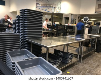 TSA AIRPORT SECURITY CHECKPOINT - UNITED STATES OF AMERICA, FLORIDA - May 21 2019