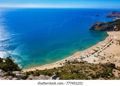 Tsambika beach with golden sand - view from Tsambika monastery (RHODES, GREECE)