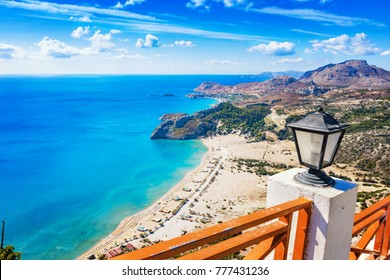 Tsambika beach with golden sand - view from Tsambika monastery (RHODES, GREECE)