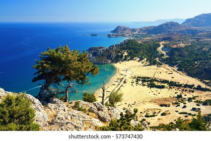 Tsambika beach on Rhodos. Greece.