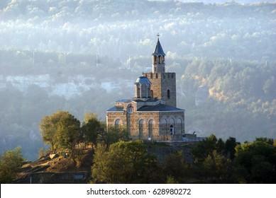 Tsarevets, Veliko Tarnovo, Bulgaria, the church, sunrise