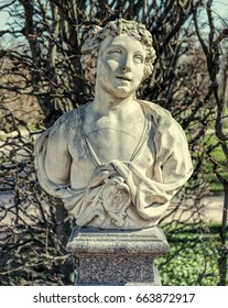 Tsarskoye Selo (Pushkin), Russia. 2017, May 14. Allegory of June bust in the Catherine Park.