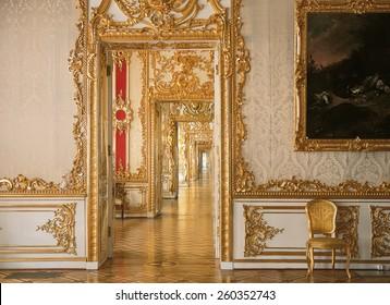 Tsarskoye Selo, Russia - 05 March 2015 : Door perspective at Tsarskoye Selo Pushkin Palace near Saint Petersburg