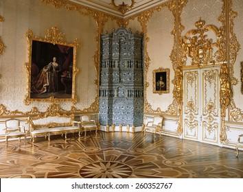 Tsarskoye Selo, Russia - 05 March 2015 : Room at Tsarskoye Selo Pushkin Palace near Saint Petersburg