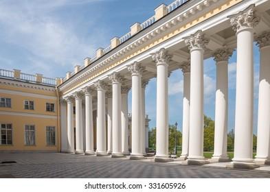TSARSKOYE SELO, SAINT-PETERSBURG, RUSSIA - MAY 16, 2015: The colonnade of Alexander Palace  in Alexander Park, Pushkin (Tsarskoye Selo). Russia.