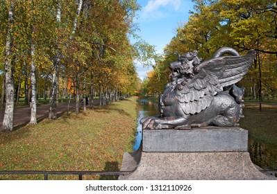 TSARSKOYE SELO, SAINT-PETERSBURG, RUSSIA – OCTOBER 8, 2018: The Dragon Bridge over Krestovy Canal in The Alexander Park. Tsarskoye Selo is the State Museum Preserve