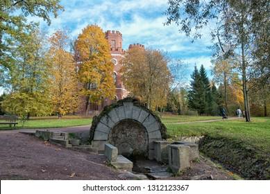 TSARSKOYE SELO, SAINT-PETERSBURG, RUSSIA – OCTOBER 8, 2018: The Grotto and Spring near the Arsenal Pavilion in The Alexander Park. The Tsarskoye Selo is the State Museum Preserve