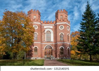 TSARSKOYE SELO, SAINT-PETERSBURG, RUSSIA – OCTOBER 8, 2018:  The Arsenal Pavilion in The Alexander Park. The Tsarskoye Selo is the State Museum Preserve