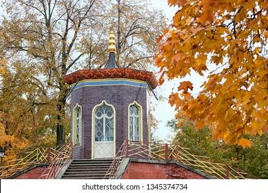 TSARSKOYE SELO, SAINT-PETERSBURG, RUSSIA – OCTOBER 8, 2018: Fragment of The Krestovy (Cross) Bridge in Alexander Park in The State Museum Preserve Tsarskoye Selo