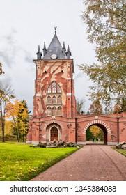 TSARSKOYE SELO, SAINT-PETERSBURG, RUSSIA – OCTOBER 8, 2018: The Chapelle Pavilion in Alexander Park after restoration. Was built in 1828 by Adam Menelaws