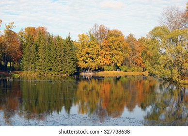 TSARSKOYE SELO, SAINT-PETERSBURG, RUSSIA - SEPTEMBER 11, 2015: The Great Pond with the Small Pier. The Tsarskoye Selo is State Museum-Preserve. Located near Saint-Petersburg.