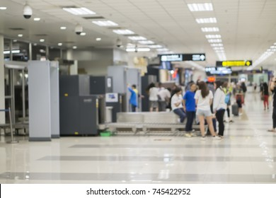 TSA,Security Checkpoint,Airport Check In ,Security  Body and Luggage Scan Machine ,vintage color,blurred background