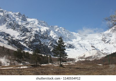 TSEI, NORTH OSSETIA-ALANIA REPUBLIC / RUSSIA - 03 MAY 2015:  The  Skazsky glacier at the Caucasus Mountains, North Ossetia.