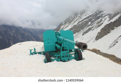 TSEI, NORTH OSSETIA-ALANIA REPUBLIC / RUSSIA - 02 MAY 2015:  The  avalanche gun at Tsei skiing resort in the Caucasus Mountains, North Ossetia.