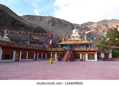 Tserkarmo Monastery in Tingmosgang Area of Ladakh,  Jammu and Kashmir, India. Buddhism retreat and meditaion place. Meditation Cave. 2018