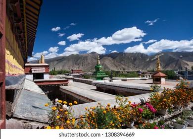 Tsetang. Tibet. 10.02.06. Samye Monastery near Tsetang in Tibet, China. The Samye Monastery or Samye Gompa was the first Buddhist monastery built in Tibet. It dates from 775AD.