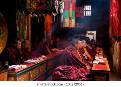 Tsetang. Tibet. 10.02.06. Tibetan Buddhist Monks at Samye Monastery in Tibet. Samye was the first Gompa monastery built in Tibet and was probably constructed around 775AD.