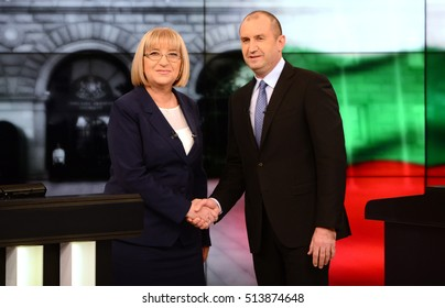 Tsetska Tsacheva (L), presidential candidate of GERB party with Rumen Radev, presidential candidate of the Bulgarian Socialist Party before of their debate in Sofia, Bulgaria, November 10, 2016