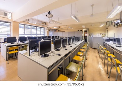 Tseung Kwan O, Hong Kong - September 4, 2015: Computer Room in secondary school in Hong Kong.