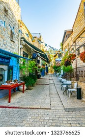 TSFAT, ISRAEL, SEPTEMBER 13, 2018: View of a street in artists quarter in Tsfat/Safed, Israel