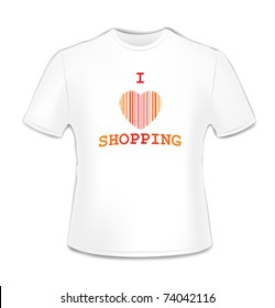 T-shirt with bar code heart over white illustration