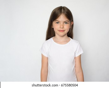 t-shirt design concept - smiling little girl in blank white t-shirt