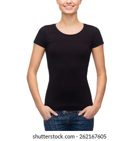 t-shirt design concept - smiling woman in blank black t-shirt