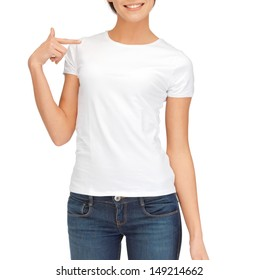 t-shirt design concept - woman in blank white t-shirt