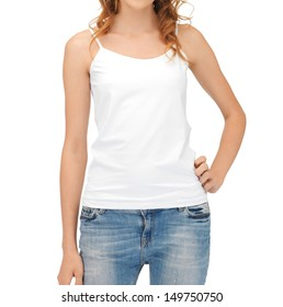 t-shirt design concept - woman in blank white tank top