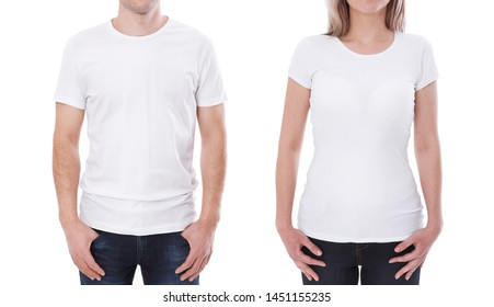 T-shirt design fashion concept, closeup of woman and man in blank white t-shirt, shirt front isolated. Mock up for sublimation.